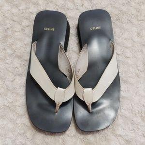 Celine Leather Wedged Flip Flop Sandals